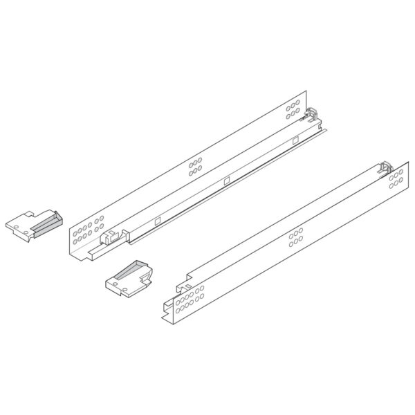 Heavy Duty drawer glides, line drawing