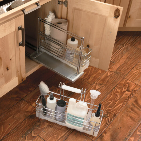 Two basket under sink caddy shown sliding out from cabinet and with one basket removed.