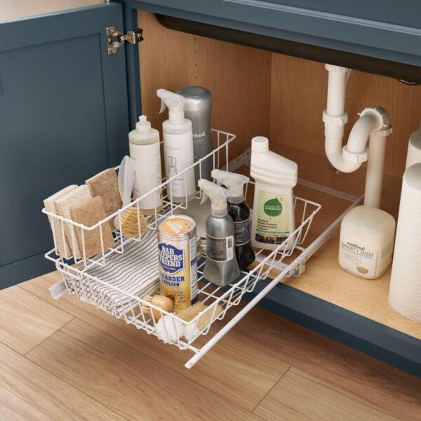 Under sink storage wire basket